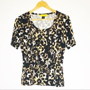 ST. JOHN Animal Print Rayon Blend Blouse
